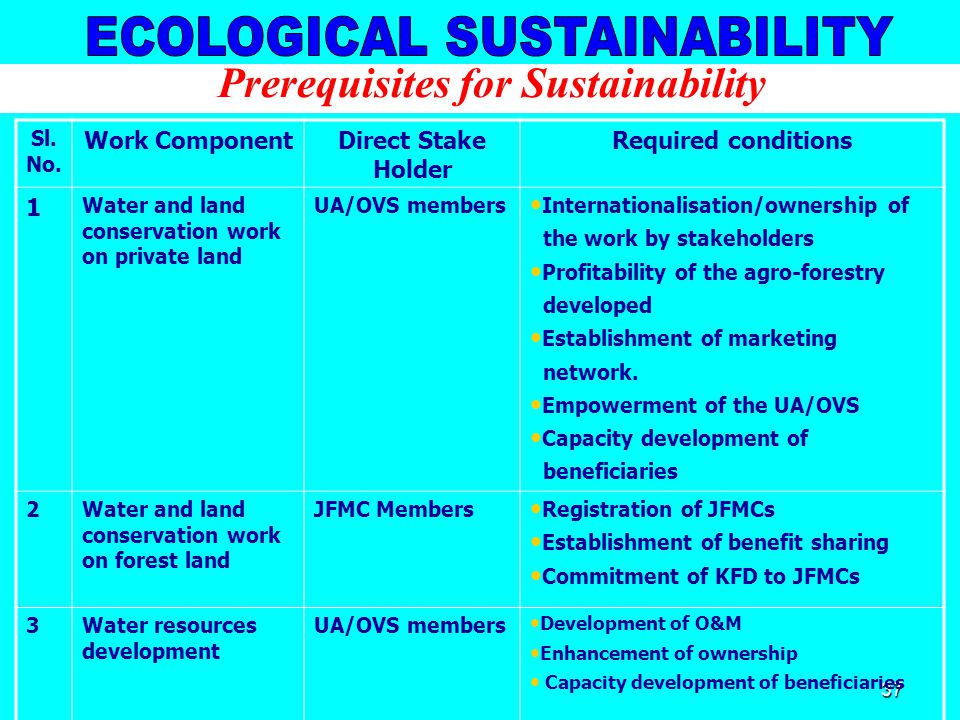 37 Prerequisites for Sustainability Sl. No.