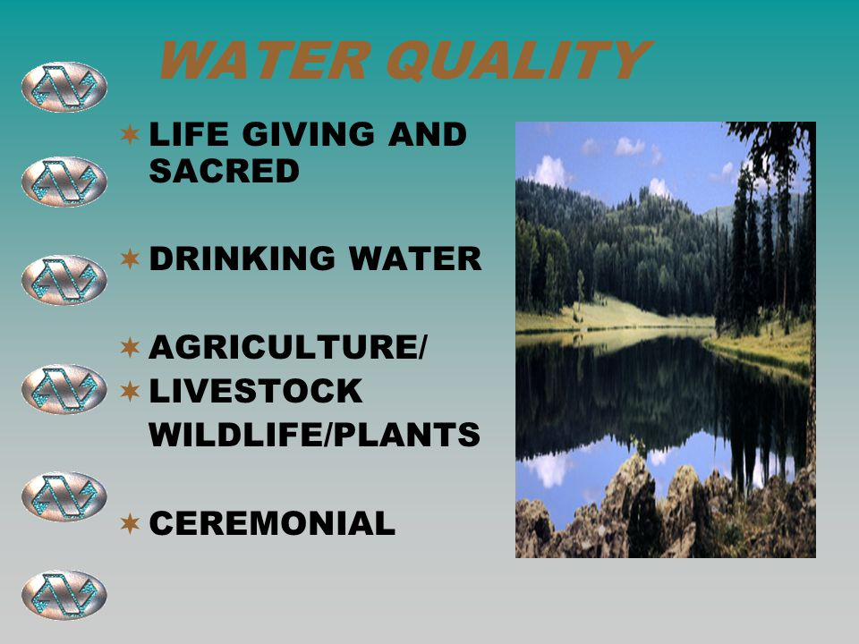 WATER QUALITY  LIFE GIVING AND SACRED  DRINKING WATER  AGRICULTURE/  LIVESTOCK WILDLIFE/PLANTS  CEREMONIAL