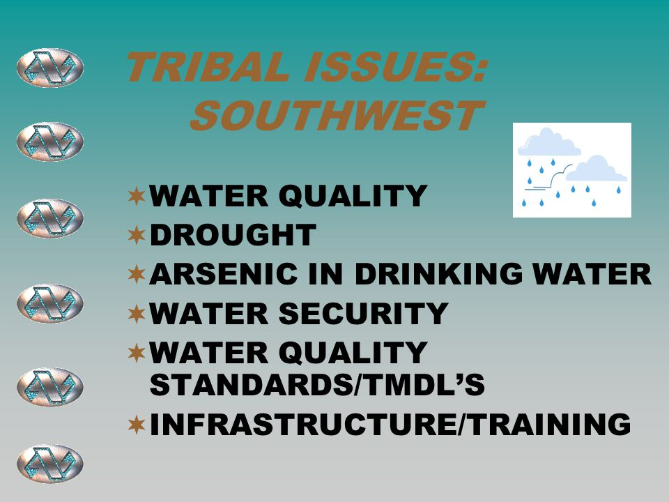 TRIBAL ISSUES: SOUTHWEST  WATER QUALITY  DROUGHT  ARSENIC IN DRINKING WATER  WATER SECURITY  WATER QUALITY STANDARDS/TMDL'S  INFRASTRUCTURE/TRAINING