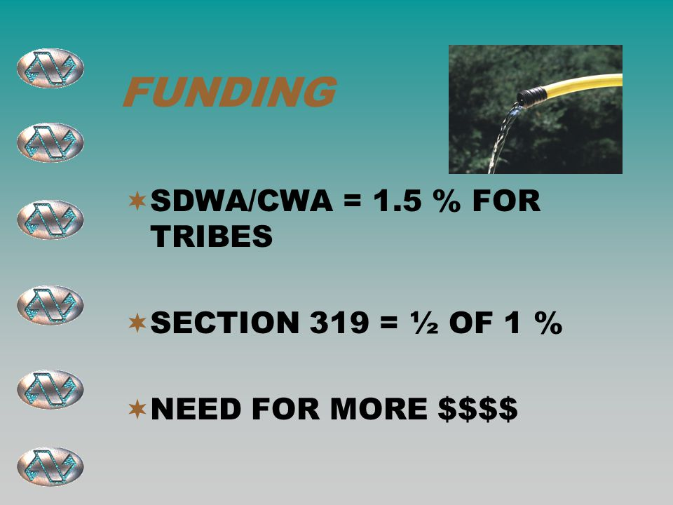 FUNDING  SDWA/CWA = 1.5 % FOR TRIBES  SECTION 319 = ½ OF 1 %  NEED FOR MORE $$$$