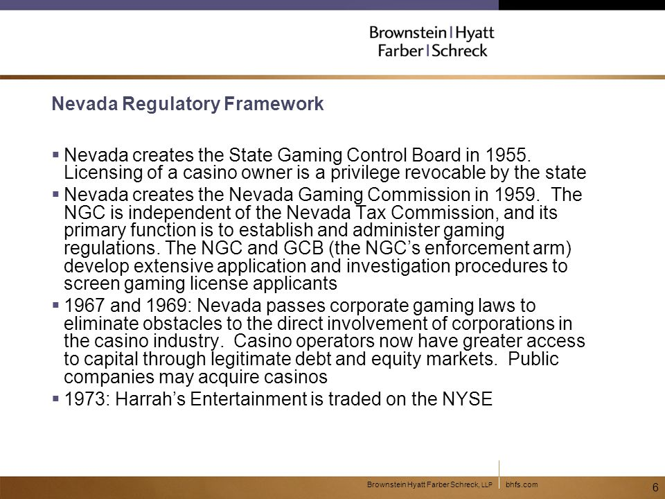 bhfs.comBrownstein Hyatt Farber Schreck, LLP 7 State Regulation of Gambling  Up until 1976, the law governing commercial casino gambling in states outside Nevada is the criminal law  In 1976, a referendum passes in New Jersey to legalize casinos in Atlantic City.