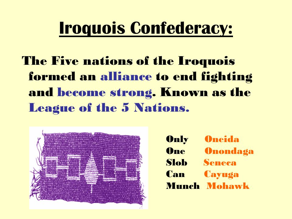 Iroquois Confederacy: The Five nations of the Iroquois formed an alliance to end fighting and become strong.