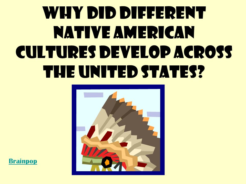 Different Native American cultures developed differently due to differences in CLIMATE and resources across the United States COPY