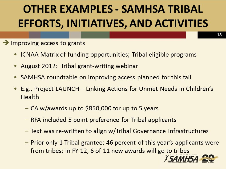 18 OTHER EXAMPLES - SAMHSA TRIBAL EFFORTS, INITIATIVES, AND ACTIVITIES  Improving access to grants ICNAA Matrix of funding opportunities; Tribal eligible programs August 2012: Tribal grant-writing webinar SAMHSA roundtable on improving access planned for this fall E.g., Project LAUNCH – Linking Actions for Unmet Needs in Children's Health –CA w/awards up to $850,000 for up to 5 years –RFA included 5 point preference for Tribal applicants –Text was re-written to align w/Tribal Governance infrastructures –Prior only 1 Tribal grantee; 46 percent of this year's applicants were from tribes; in FY 12, 6 of 11 new awards will go to tribes