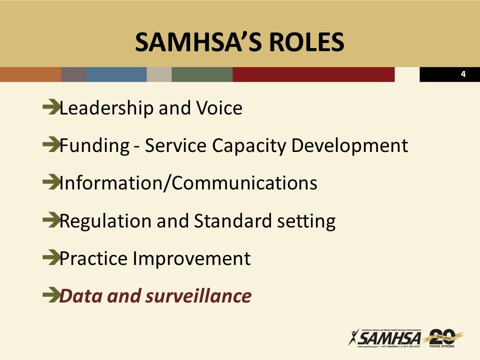4 SAMHSA'S ROLES  Leadership and Voice  Funding - Service Capacity Development  Information/Communications  Regulation and Standard setting  Prac