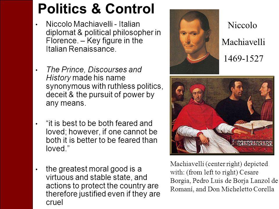 Politics & Control Niccolo Machiavelli - Italian diplomat & political philosopher in Florence.
