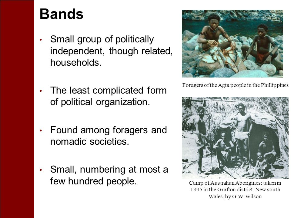 Bands Small group of politically independent, though related, households.