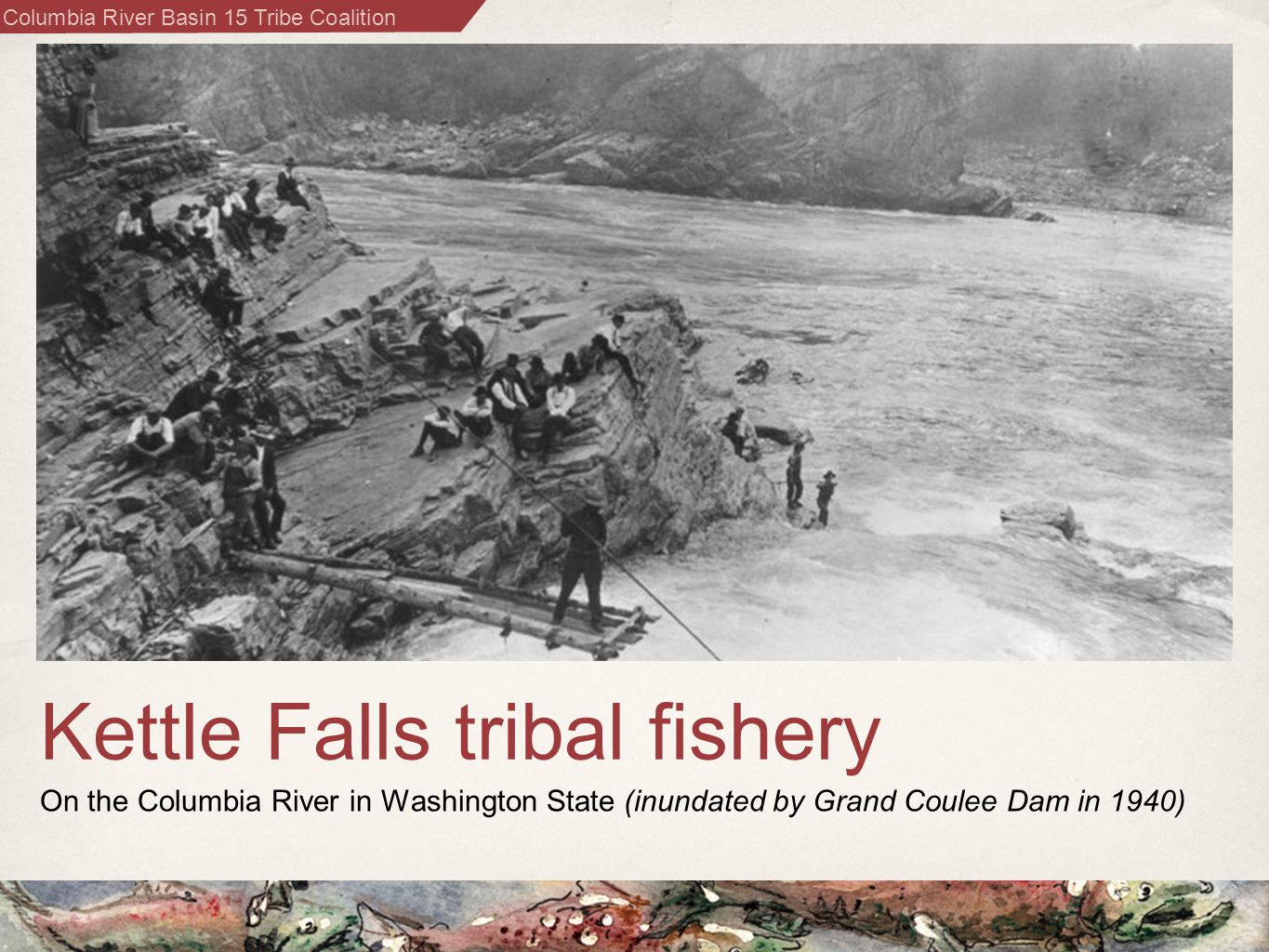 Columbia River Basin 15 Tribe Coalition Kettle Falls tribal fishery On the Columbia River in Washington State (inundated by Grand Coulee Dam in 1940)