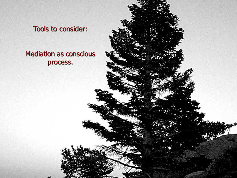 Tools to consider: Mediation as conscious process.