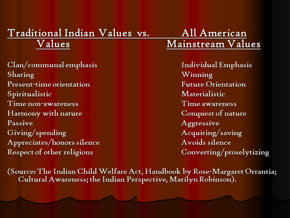 Traditional Indian Values vs.