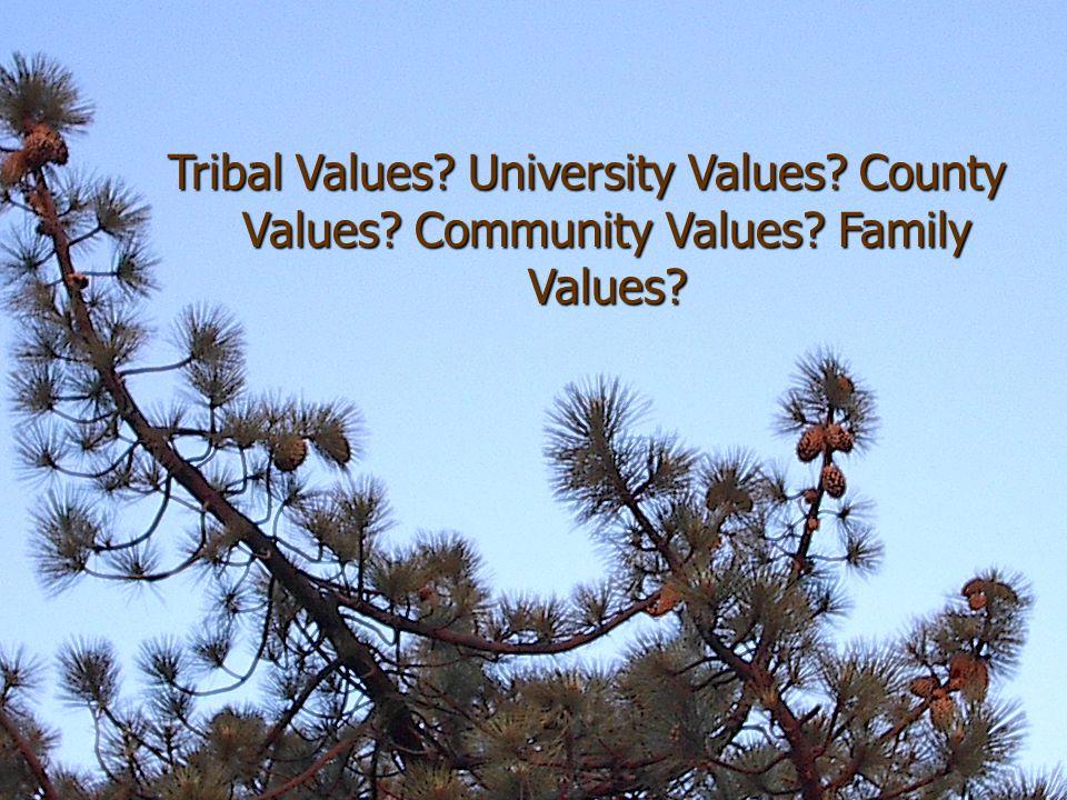 Tribal Values University Values County Values Community Values Family Values