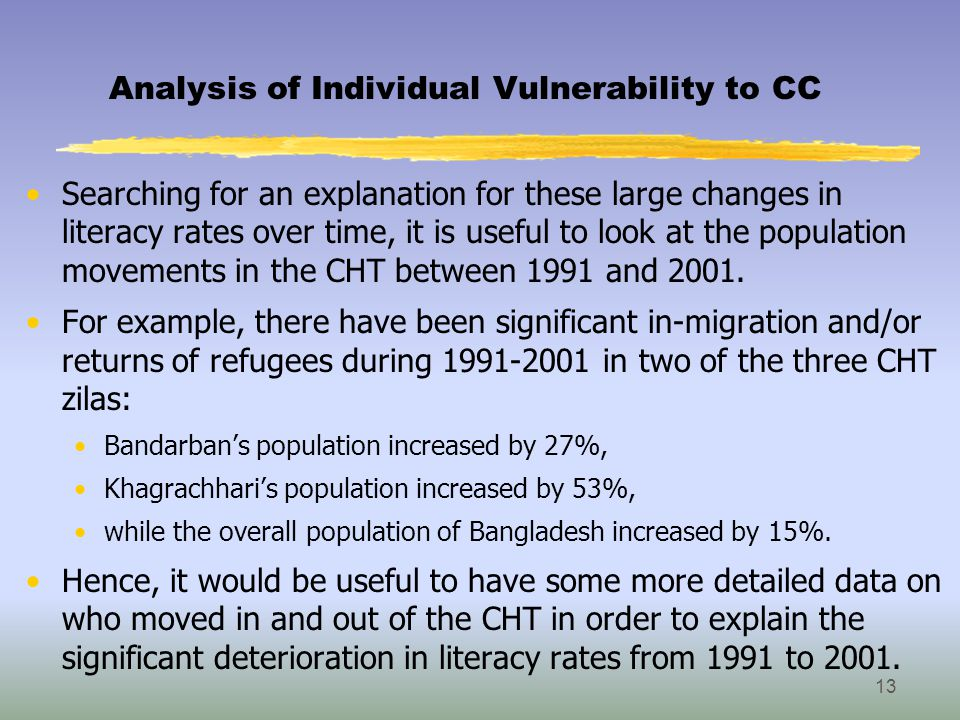 Analysis of Individual Vulnerability to CC Searching for an explanation for these large changes in literacy rates over time, it is useful to look at the population movements in the CHT between 1991 and 2001.