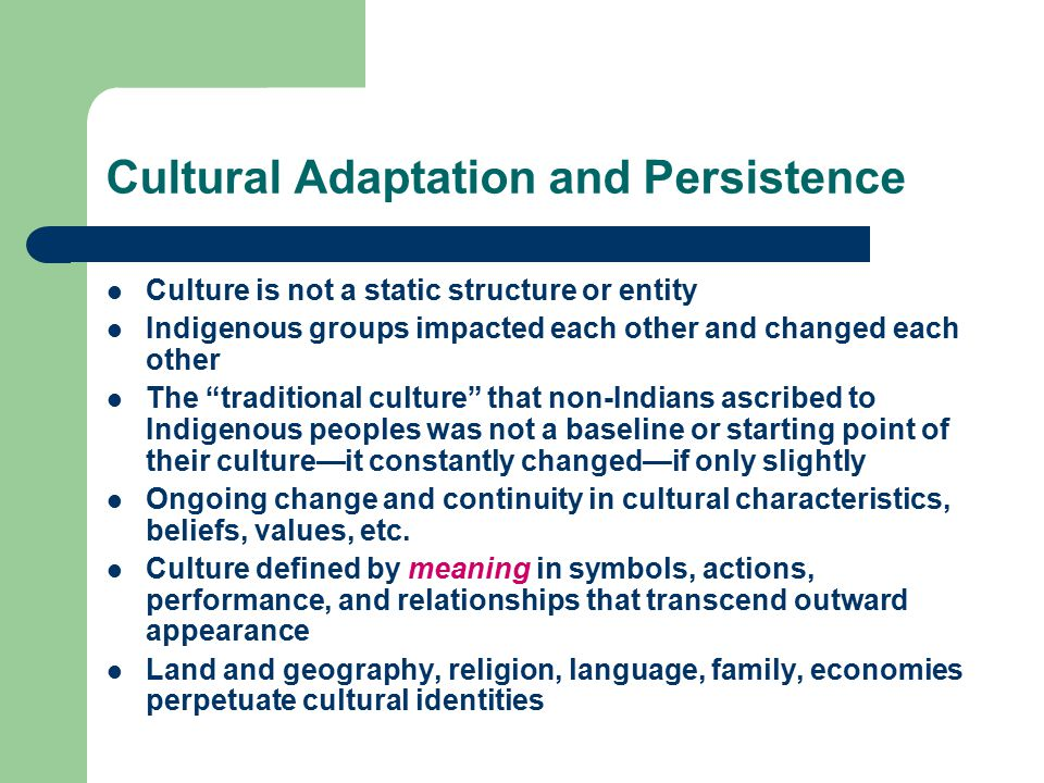 Cultural Adaptation and Persistence Culture is not a static structure or entity Indigenous groups impacted each other and changed each other The traditional culture that non-Indians ascribed to Indigenous peoples was not a baseline or starting point of their culture—it constantly changed—if only slightly Ongoing change and continuity in cultural characteristics, beliefs, values, etc.