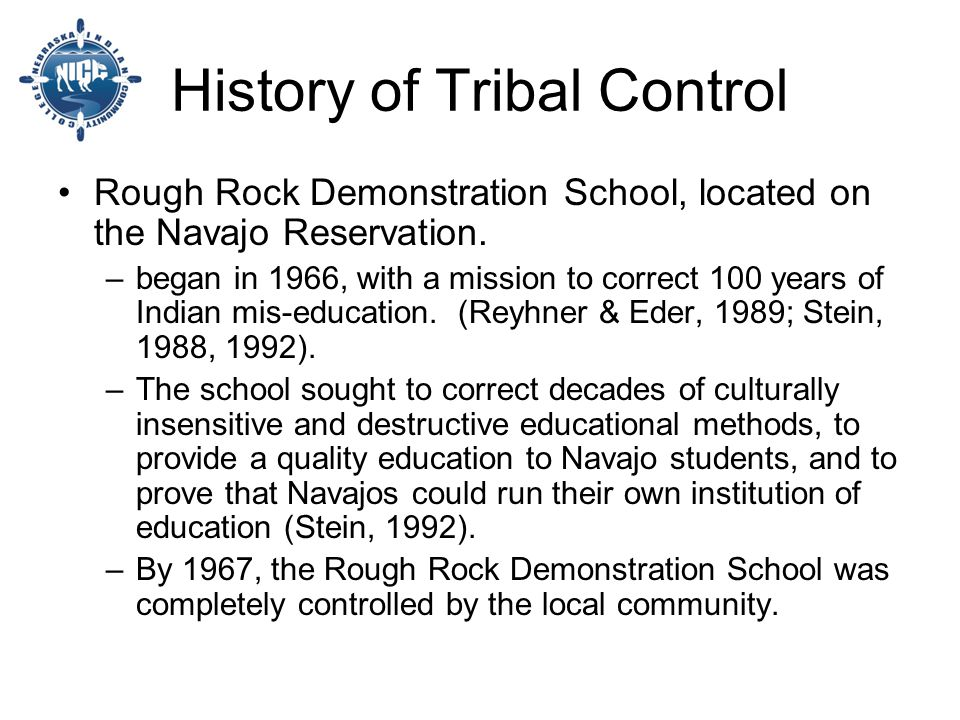 History of Tribal Control Rough Rock Demonstration School, located on the Navajo Reservation.