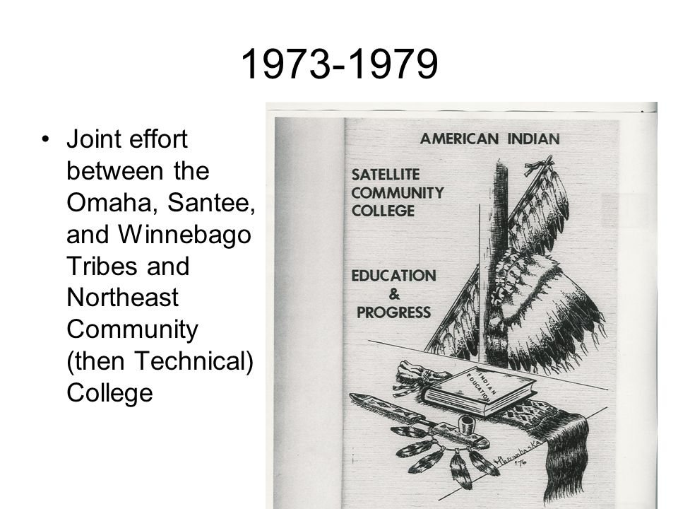 1973-1979 Joint effort between the Omaha, Santee, and Winnebago Tribes and Northeast Community (then Technical) College