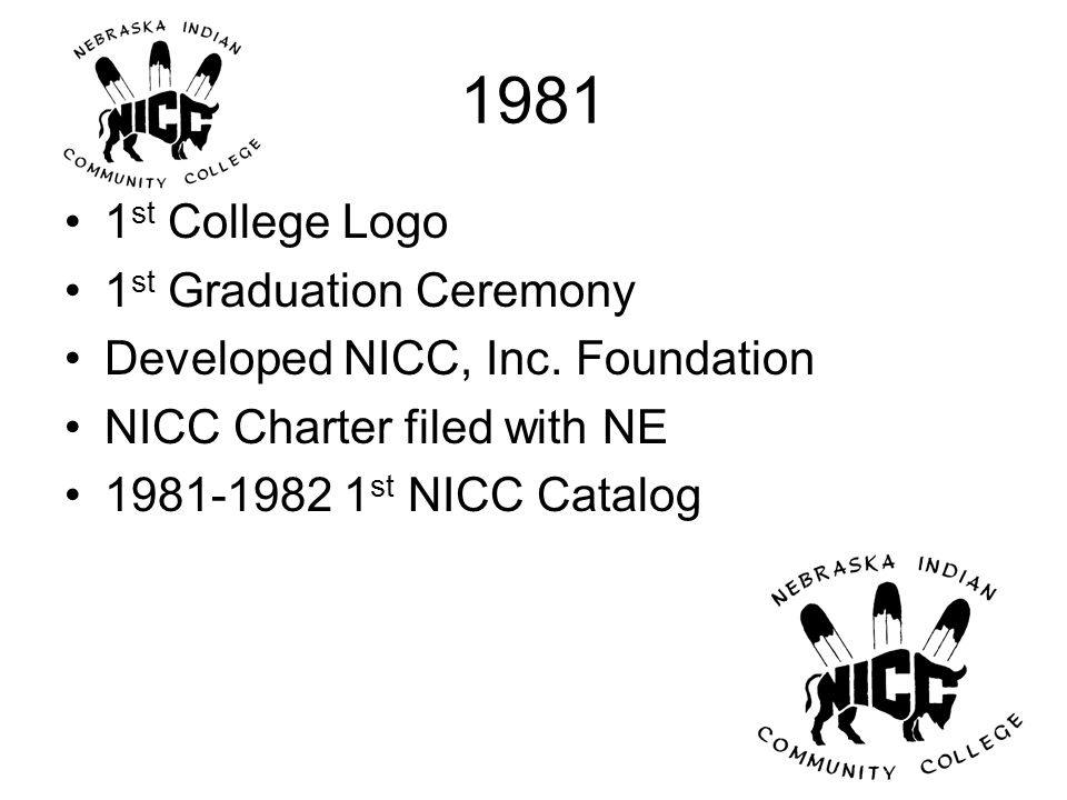 1981 1 st College Logo 1 st Graduation Ceremony Developed NICC, Inc.