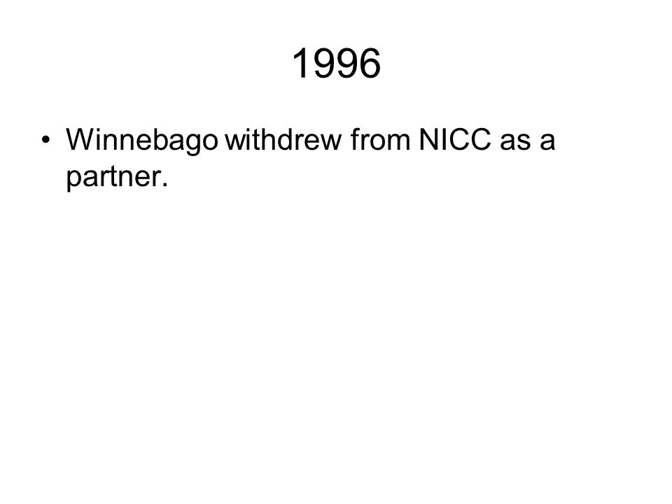 1996 Winnebago withdrew from NICC as a partner.