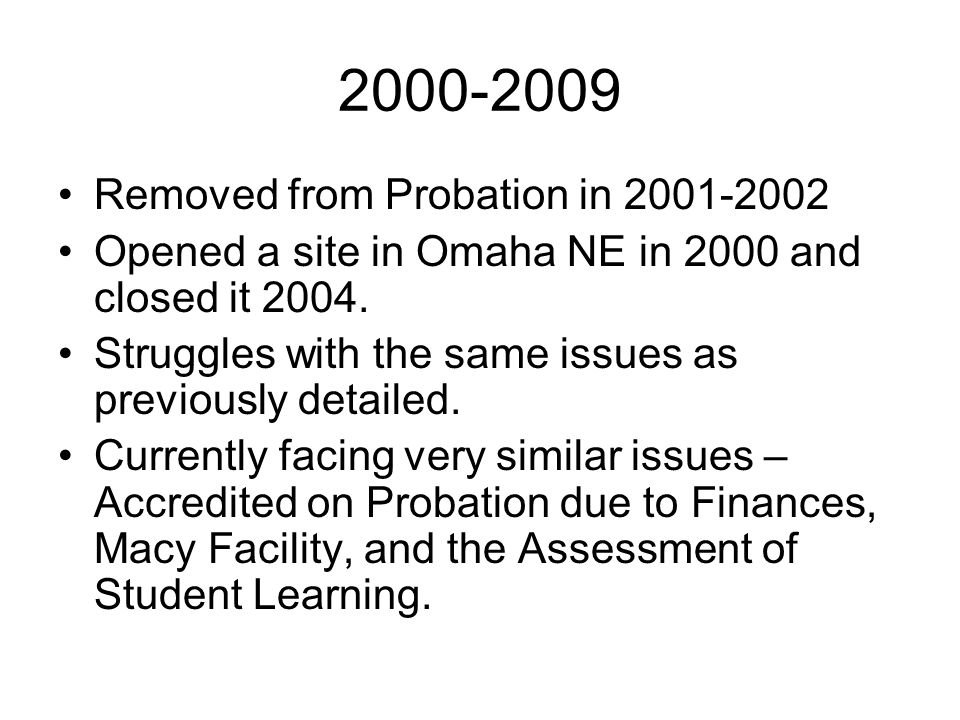 2000-2009 Removed from Probation in 2001-2002 Opened a site in Omaha NE in 2000 and closed it 2004.