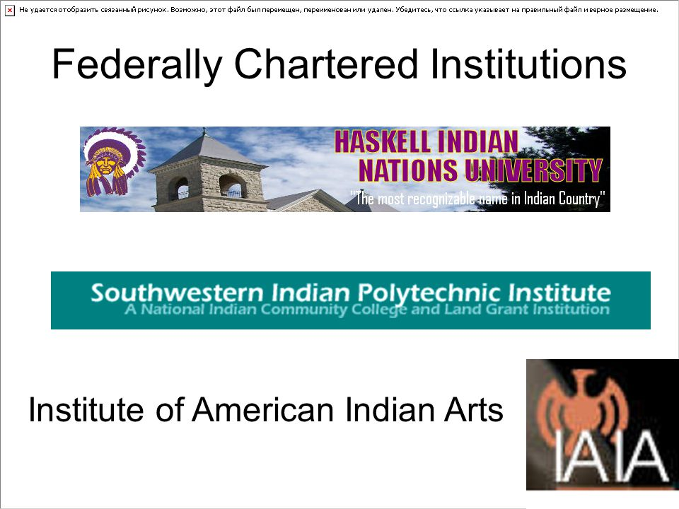 Federally Chartered Institutions Institute of American Indian Arts