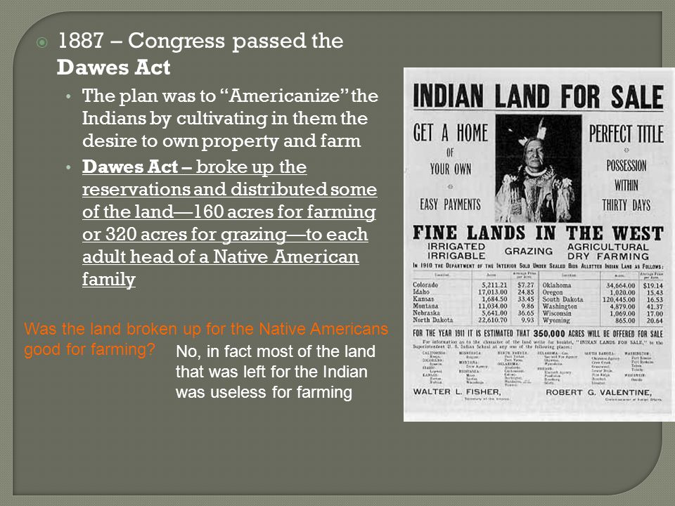 """ 1887 – Congress passed the Dawes Act The plan was to """"Americanize"""" the Indians by cultivating in them the desire to own property and farm Dawes Act"""