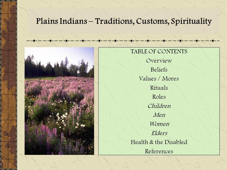 Plains Indians – Traditions, Customs, Spirituality TABLE OF CONTENTS Overview Beliefs Values / Mores Rituals Roles Children Men Women Elders Health &