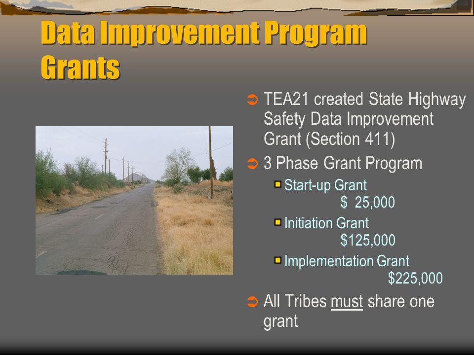 Data Improvement Program Grants  TEA21 created State Highway Safety Data Improvement Grant (Section 411)  3 Phase Grant Program Start-up Grant $ 25,