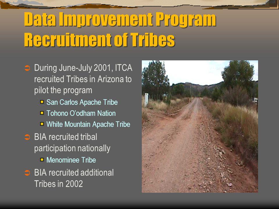 Data Improvement Program Recruitment of Tribes  During June-July 2001, ITCA recruited Tribes in Arizona to pilot the program San Carlos Apache Tribe Tohono O'odham Nation White Mountain Apache Tribe  BIA recruited tribal participation nationally Menominee Tribe  BIA recruited additional Tribes in 2002