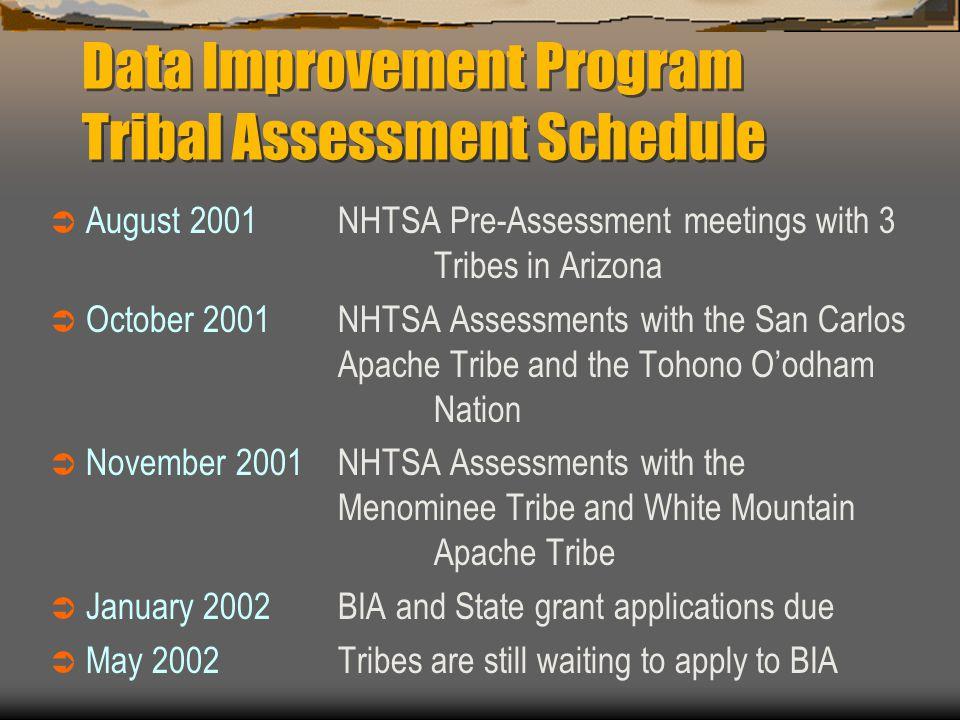 Data Improvement Program Tribal Assessment Schedule  August 2001NHTSA Pre-Assessment meetings with 3 Tribes in Arizona  October 2001 NHTSA Assessmen