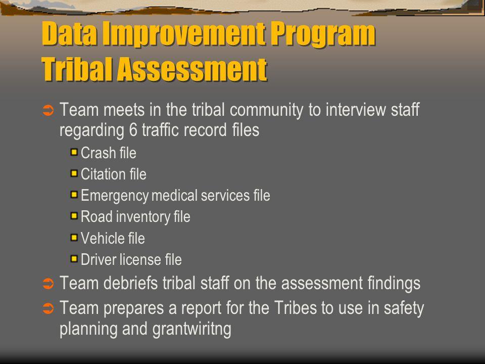 Data Improvement Program Tribal Assessment  Team meets in the tribal community to interview staff regarding 6 traffic record files Crash file Citatio