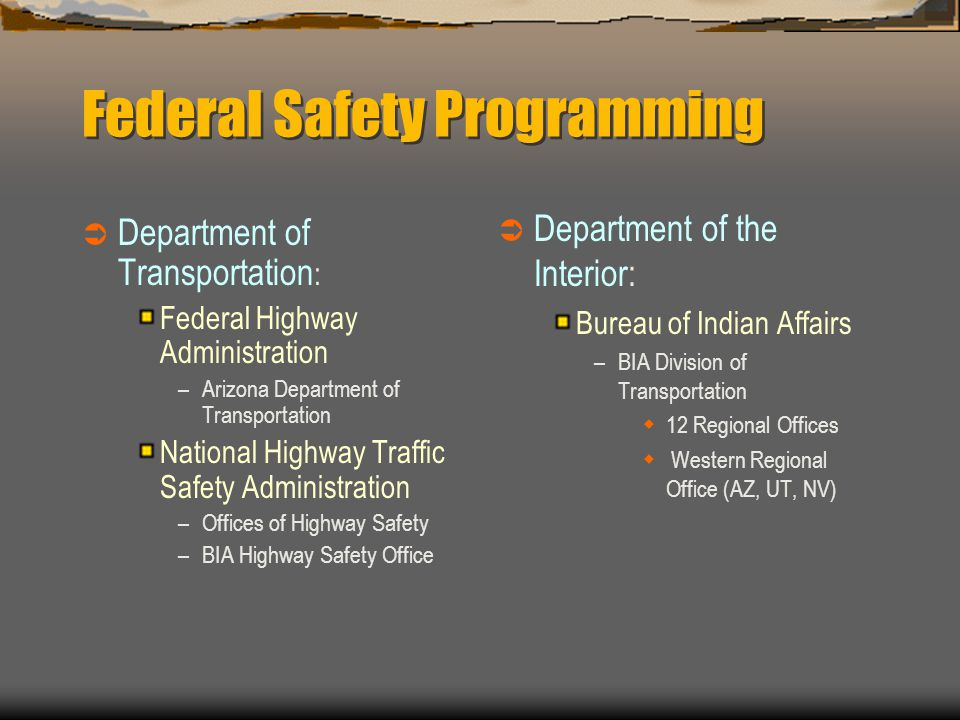 Data Improvement Program Introduction to Tribes  ITCA sponsored forums to introduce Tribes to safety programming February 2001 ADOT, BIA, FHWA, GOHS, IHS, Kimley-Horn presented federal and state safety programming April 2001NHTSA promoted the Data Improvement Program May 2001 Road Safety & Public Health Conference