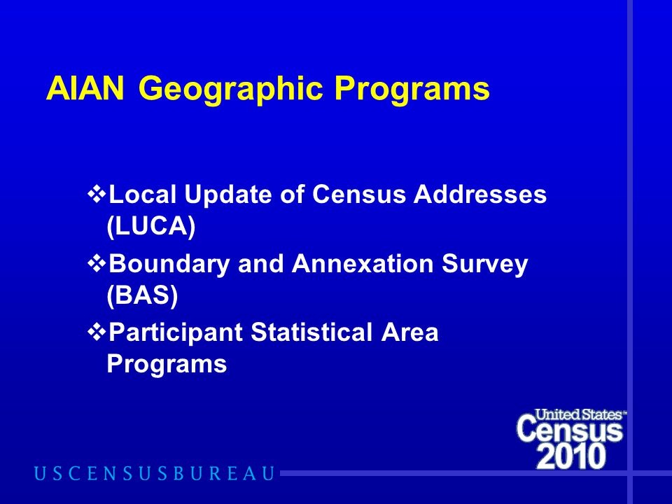 AIAN Geographic Programs  Local Update of Census Addresses (LUCA)  Boundary and Annexation Survey (BAS)  Participant Statistical Area Programs