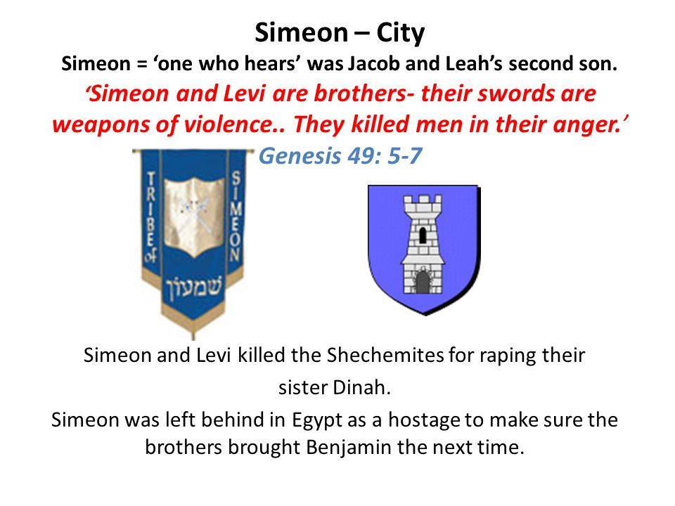 Simeon – City Simeon = 'one who hears' was Jacob and Leah's second son.