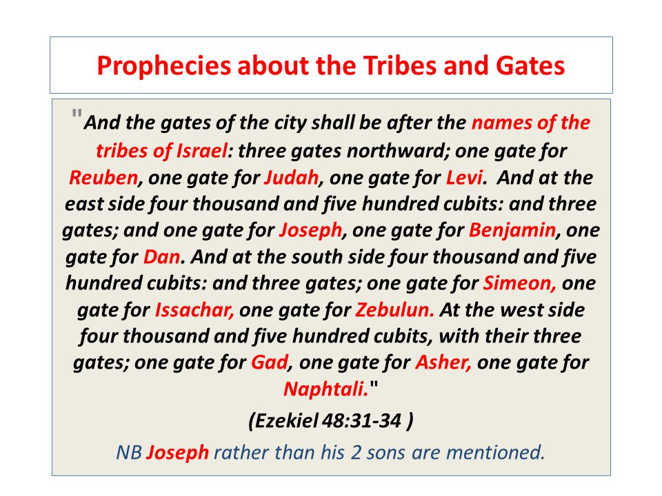 Prophecies about the Tribes and Gates And the gates of the city shall be after the names of the tribes of Israel: three gates northward; one gate for Reuben, one gate for Judah, one gate for Levi.