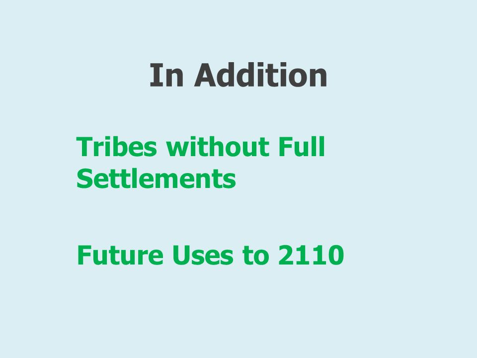 In Addition Tribes without Full Settlements Future Uses to 2110
