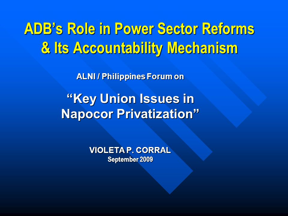 ADB's Role in Power Sector Reforms & Its Accountability Mechanism ALNI / Philippines Forum on Key Union Issues in Napocor Privatization VIOLETA P.