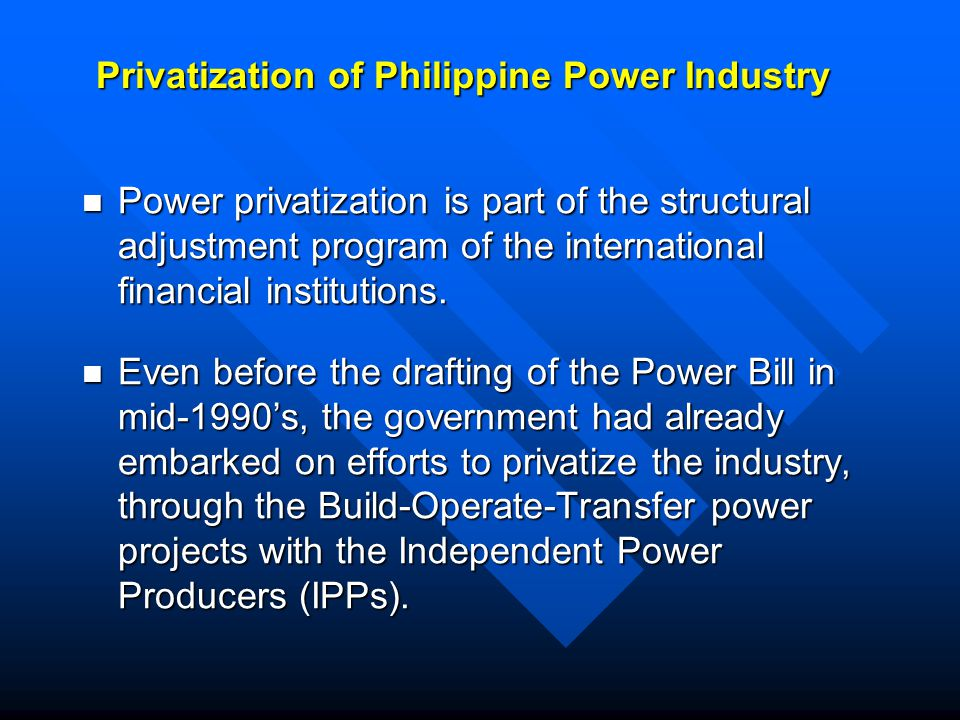 ADB loans to power sector 20 loans (US$1.6B) and a partial credit guarantee of JPY 12B to NPC for power generation and transmission projects.