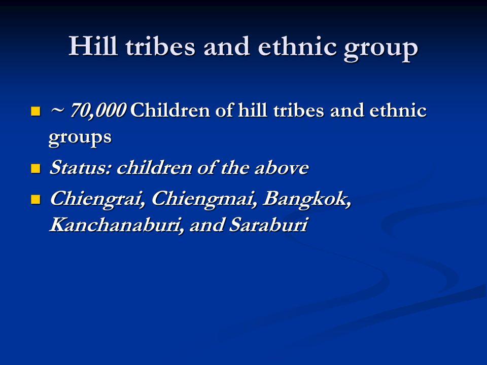 Hill tribes and ethnic group ~ 70,000 Children of hill tribes and ethnic groups ~ 70,000 Children of hill tribes and ethnic groups Status: children of the above Status: children of the above Chiengrai, Chiengmai, Bangkok, Kanchanaburi, and Saraburi Chiengrai, Chiengmai, Bangkok, Kanchanaburi, and Saraburi