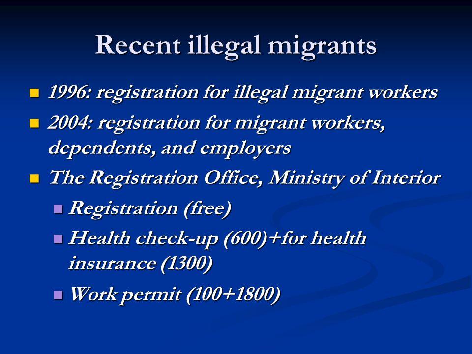 Recent illegal migrants 1996: registration for illegal migrant workers 1996: registration for illegal migrant workers 2004: registration for migrant w