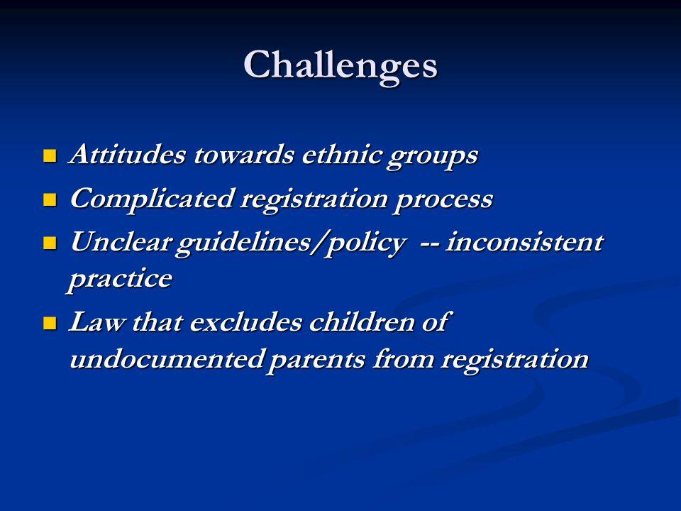 Challenges Attitudes towards ethnic groups Attitudes towards ethnic groups Complicated registration process Complicated registration process Unclear g