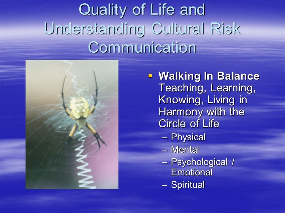 Quality of Life and Understanding Cultural Risk Communication  Walking In Balance Teaching, Learning, Knowing, Living in Harmony with the Circle of Life –Physical –Mental –Psychological / Emotional –Spiritual