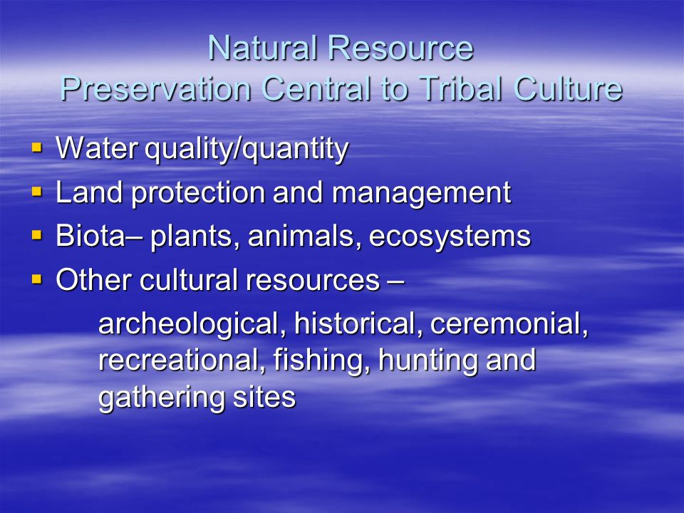 Natural Resource Preservation Central to Tribal Culture  Water quality/quantity  Land protection and management  Biota– plants, animals, ecosystems  Other cultural resources – archeological, historical, ceremonial, recreational, fishing, hunting and gathering sites
