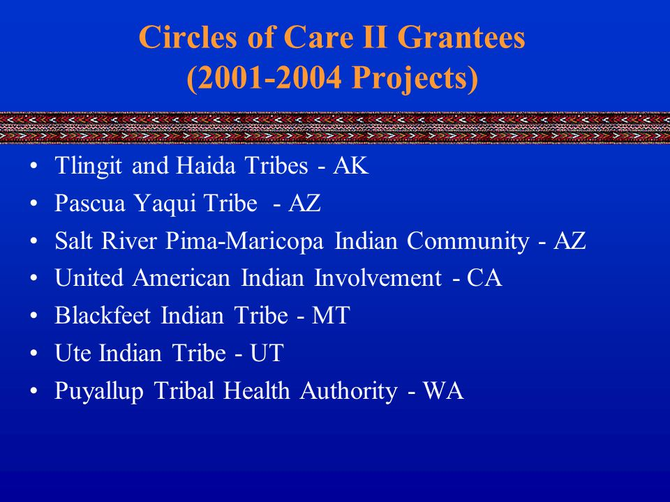 Circles of Care II Grantees (2001-2004 Projects) Tlingit and Haida Tribes - AK Pascua Yaqui Tribe - AZ Salt River Pima-Maricopa Indian Community - AZ United American Indian Involvement - CA Blackfeet Indian Tribe - MT Ute Indian Tribe - UT Puyallup Tribal Health Authority - WA
