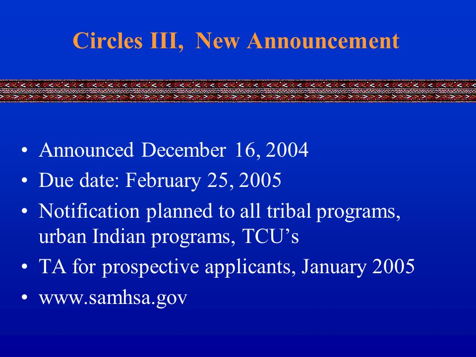 Circles III, New Announcement Announced December 16, 2004 Due date: February 25, 2005 Notification planned to all tribal programs, urban Indian programs, TCU's TA for prospective applicants, January 2005 www.samhsa.gov