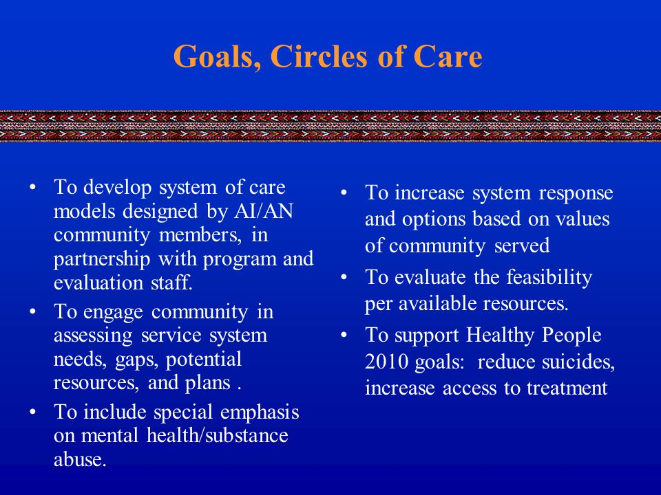 Goals, Circles of Care To develop system of care models designed by AI/AN community members, in partnership with program and evaluation staff.
