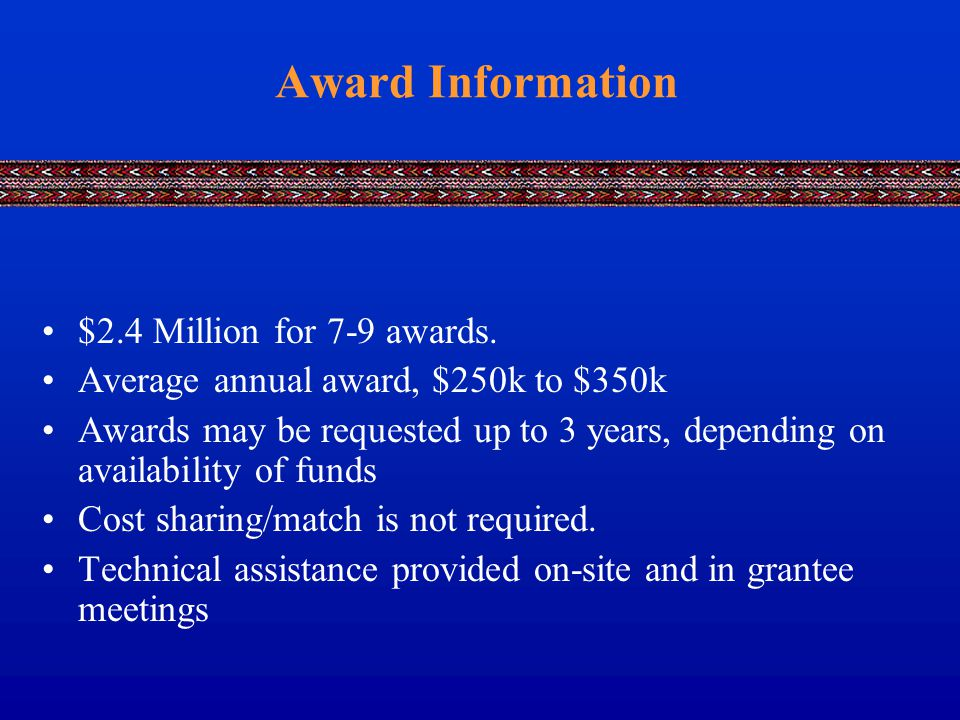 Award Information $2.4 Million for 7-9 awards.