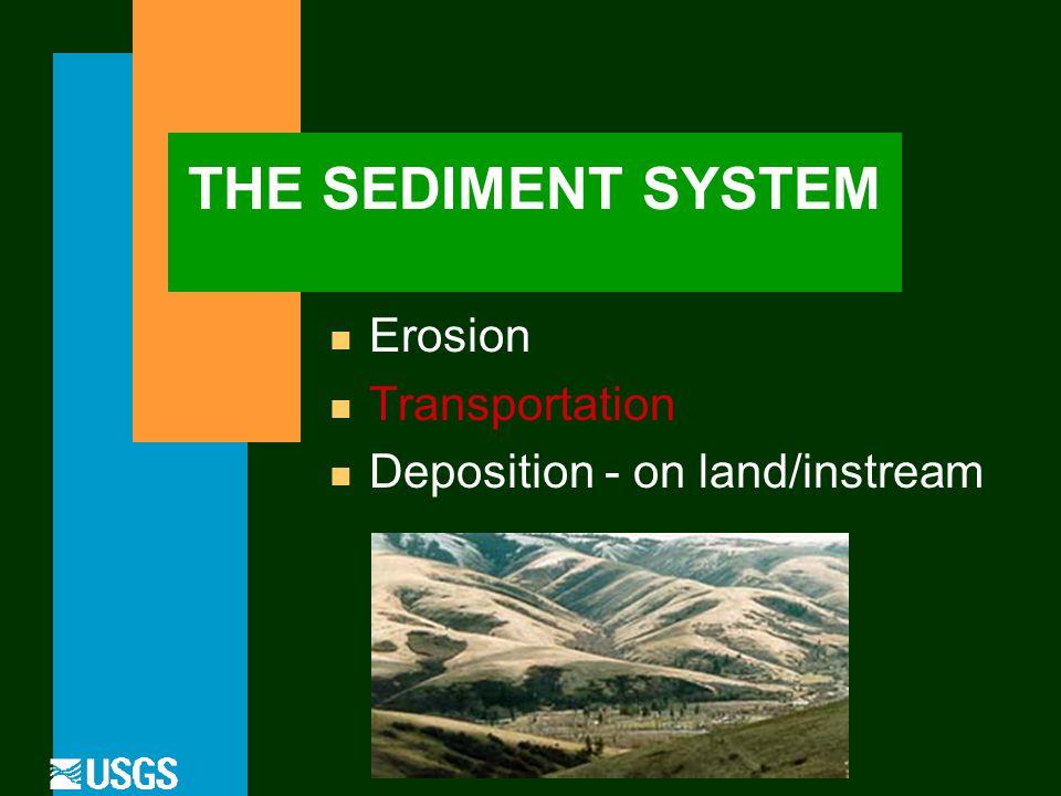 THE SEDIMENT SYSTEM n Erosion n Transportation n Deposition - on land/instream