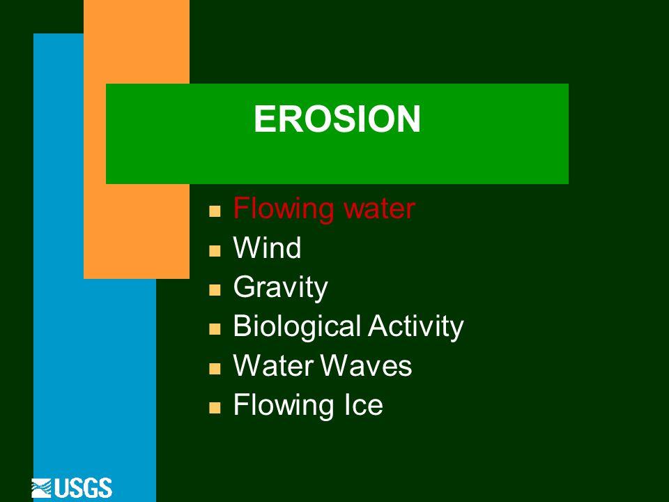EROSION n Flowing water n Wind n Gravity n Biological Activity n Water Waves n Flowing Ice