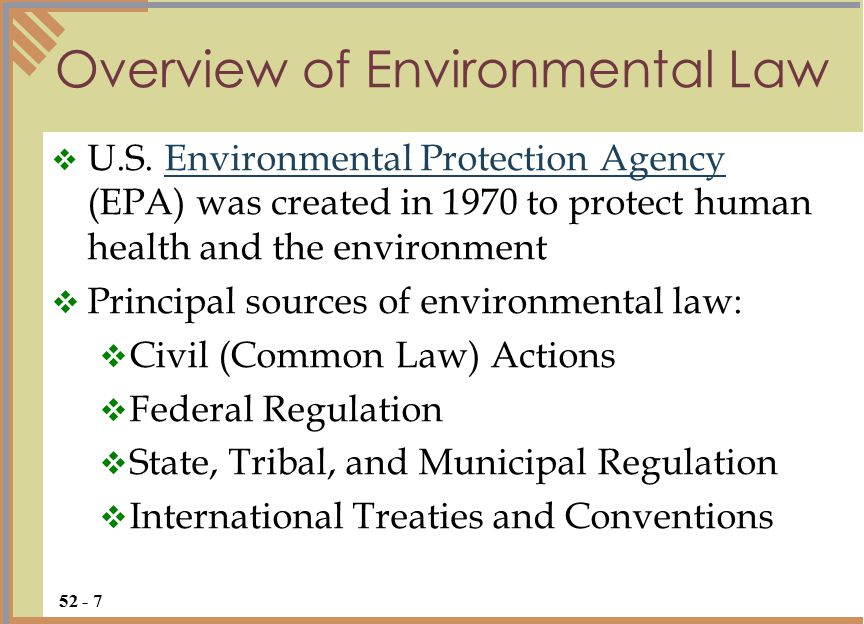 Overview of Environmental Law  U.S.