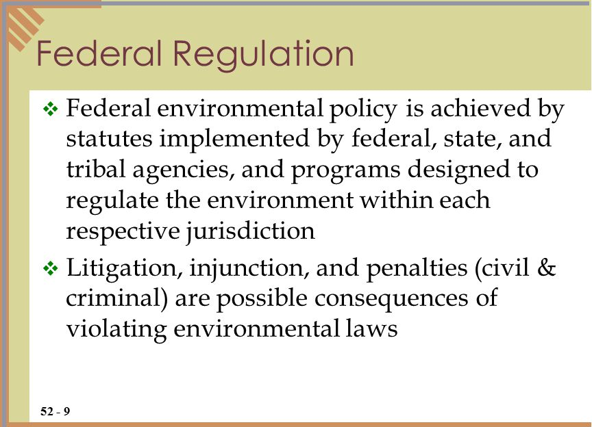 Nature of Environmental Law  Most environmental laws are implemented through permitting programs that establish pollution limits  Thus, environmental laws do not prevent pollution, but set pollution limits and create a system to compensate for environmental harm  Subject of laws: health and safety, pollution, conservation efforts, environmental damage 52 - 10