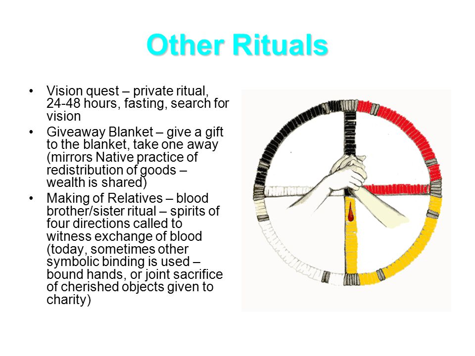 Other Rituals Vision quest – private ritual, 24-48 hours, fasting, search for vision Giveaway Blanket – give a gift to the blanket, take one away (mirrors Native practice of redistribution of goods – wealth is shared) Making of Relatives – blood brother/sister ritual – spirits of four directions called to witness exchange of blood (today, sometimes other symbolic binding is used – bound hands, or joint sacrifice of cherished objects given to charity)